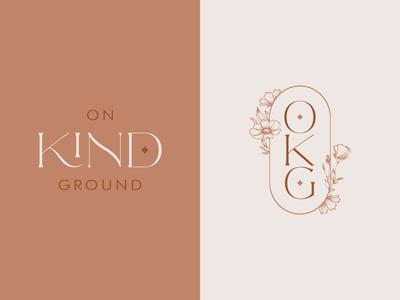 On Kind Ground Concept boho botanical floral sophisticated elegant jewelry badge logo icon branding advertising design vector illustrator illustration