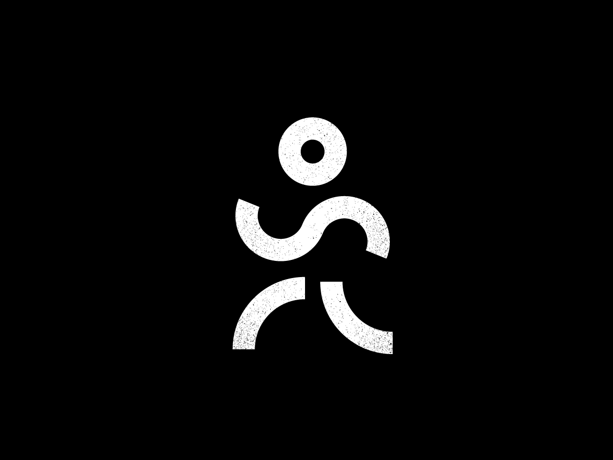 Runner Logo black  white simple abstract symbol running logo runner running man concept branding logo