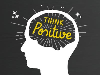 Think Positive poster motivation illustration typography design