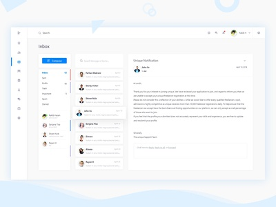Inbox - Web Application Dashboard