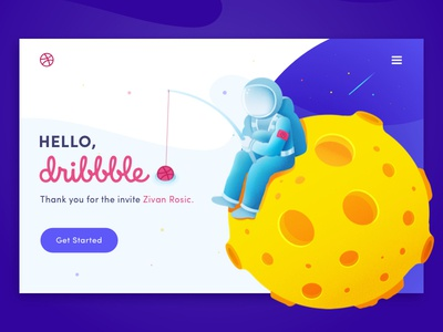Hello Dribbble! web design moon fishing astronaut illustration first shot debut