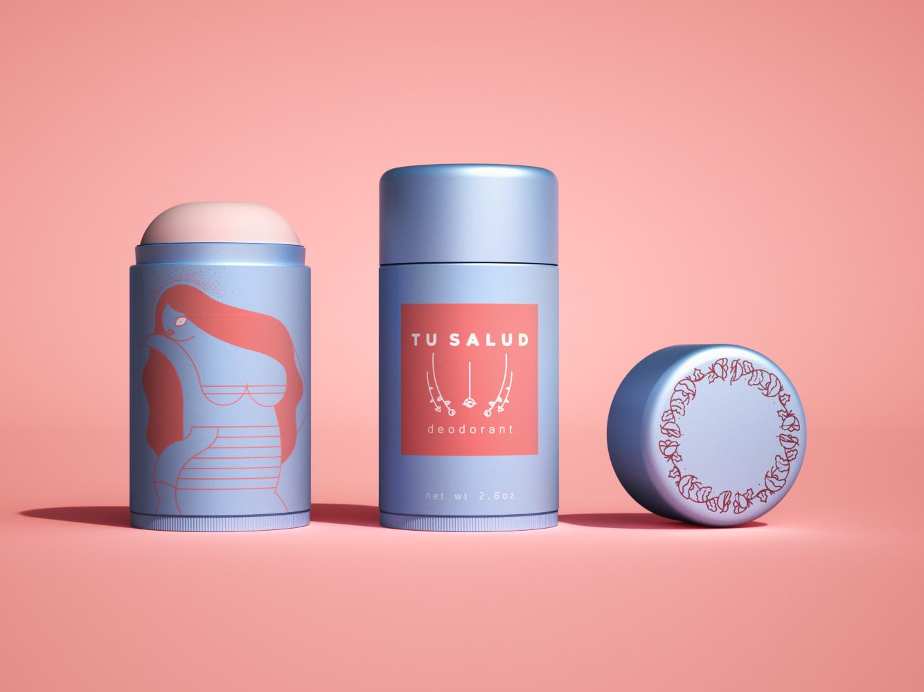 Tu Salud deodorant illustration photoshop design logo branding packaging package design