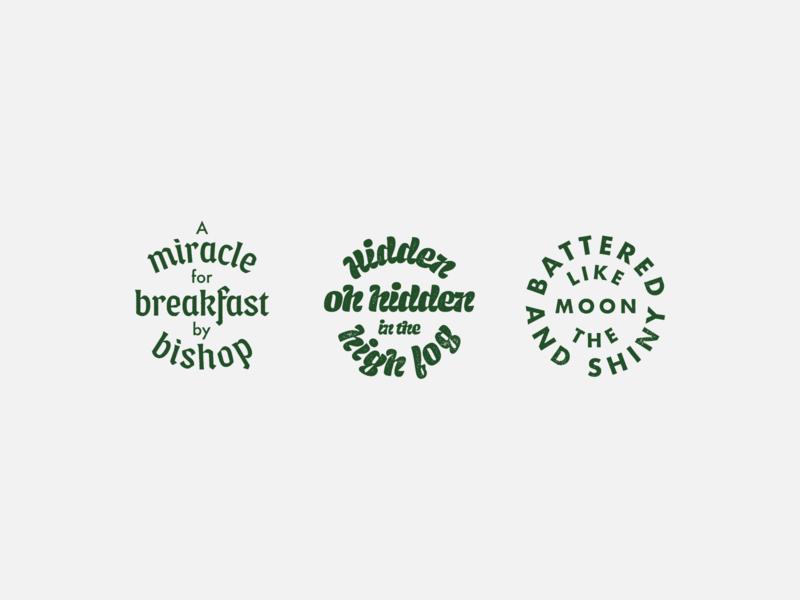 Bishop Badges print typography design