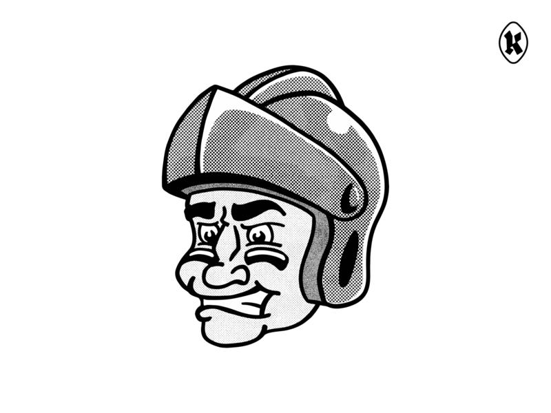 Knight's Logo Halftone illustration halftone knight football mascot branding