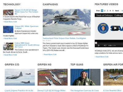 Saab Gripen website concept blog design
