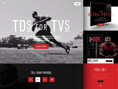 LIVE: TDs for TVs NFL Campaign dark landing page football sports video vizio bg campaign nfl stevie johnson