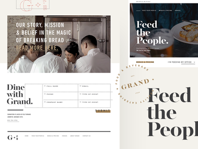 Grand Food & Beverage typography website logo identity branding catering