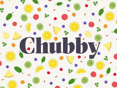 I love food.  chubby illustration pattern health food