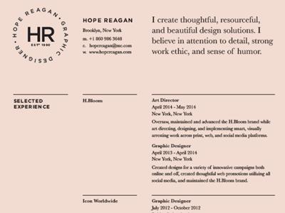 Hr Resume by Hope Reagan - Dribbble