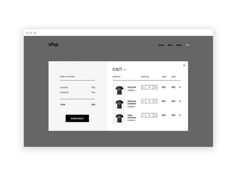sfsp - cart shop website checkout cart ecommerce web design