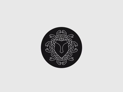 Camp Logo line drawing mask medusa mythology greek kids camp identity branding logo