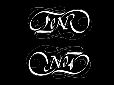 Fear Not - Ambigram Hand-lettering typographic ambigram hand lettering student work type design typography