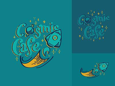 Cosmic Cafe Logo illustrator rocketship rocket logo vector space logodesign logo