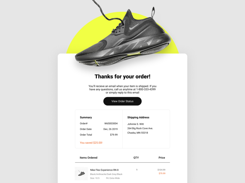 Email Receipt email typography visual design layout ui design dailyui