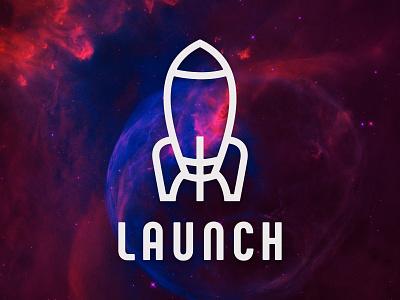 LAUNCH NEBULA rocket rocket logo icon design logo design perth designer illustration vector branding graphicdesign logo