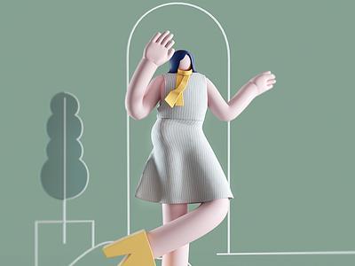 Dancing design 3d illustration