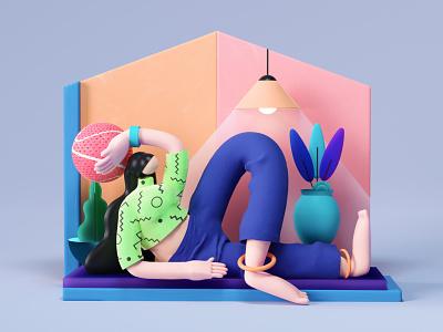 Still Stay Home c4d 3d illustration visual