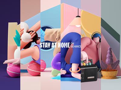 Stay Home 3dillustration c4d 3d illustration visual