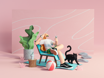 Beach Shopping c4d illustration 3dillustration