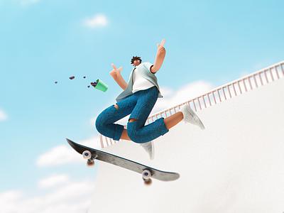 Jumping c4d illustration 3dillustration