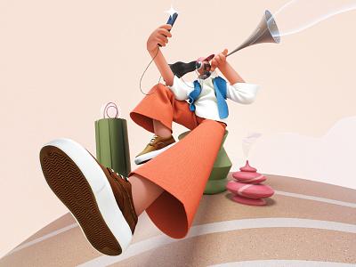 Air Charmer design 3d illustration c4d visual