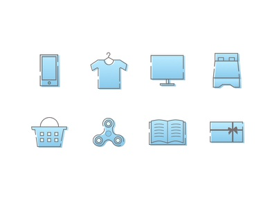 Ecommerce Icons furniture gift card grocery books toys fashion electronics categories ecommerce icons icons icon set