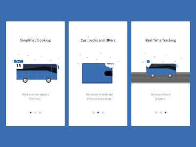 Onboarding ui design cashback offer illustrations bus booking bus onboarding