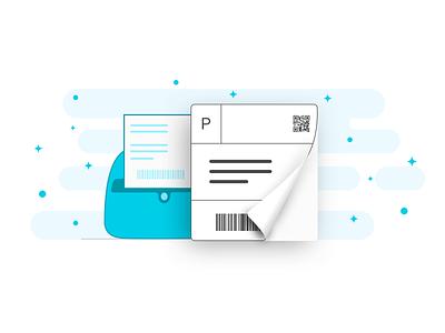 Shipping Label - Graphics peel off shipping label sticker printer illustration graphics fold peel