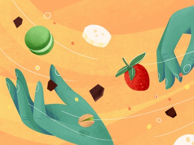 Grandma's Kitchen [2/3] cooking schoolofmotion food chocolate illustration flow strawberries hands