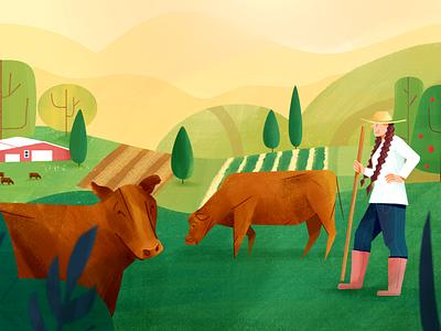 Life on a farm meadow animalfarm cow trees nature farmer cows farm