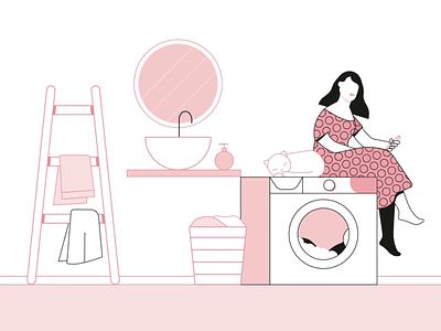 Washing machine explainer animation character pink cat girl washing machine wash