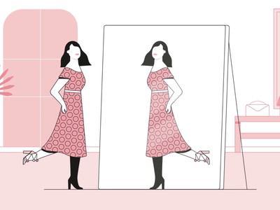 Mirror design character animation clothing sustainable store girl mirror