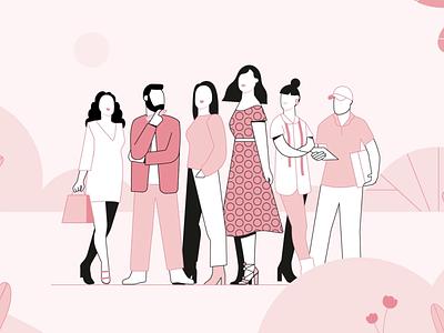 Teamwork illustration character explainer designers pink lineup people teamwork team