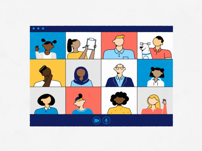 Videocalls.. motion explainer gif animation character teams zoom videocall