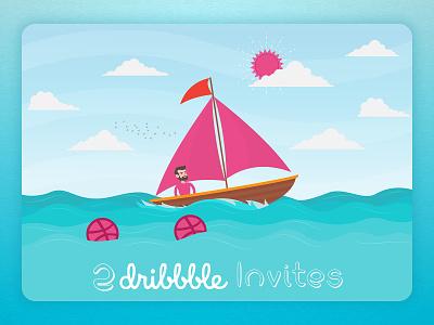 2 Dribbble Invites invitation two flat design invites dribble
