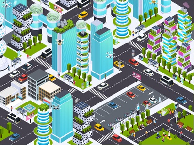 Smart city buiding character isometric illustration vector