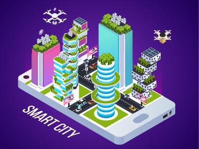 Smart City smart city buiding design isometric illustration isometric illustration vector