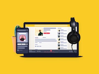 Podcast Listening Platform • RecTag minimalism simple and clean design alexander michaelis rectag rectag mockup podcast listening illustration ui  ux