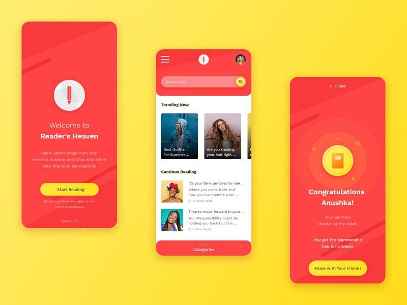 Reading App UI Design ux design ui design remote freelancer dashboad design app blog design blog reading app typogaphy ux vector app design illustration graphics ui uiux design mumbai india