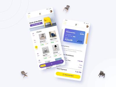 Shopping App - UI/UX design mobile ui freelancer app design shopping app hyderabad chair payment interaction ux ecommerce app dailyui consultant dubai bangalore ui uiux design mumbai india