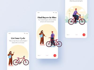 Onboarding - Cycle App UI Design consultant freelancer hyderabad ui design app design onboarding screen illustraion onboarding cycle bangalore ux vector app illustration dailyui ui uiux design mumbai india