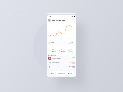 Stock Market App - Home page minimalist money mobile design mobile app bangalore ui design finance fintech app ui design stock market app design app typography ux dailyui ui uiux design mumbai india