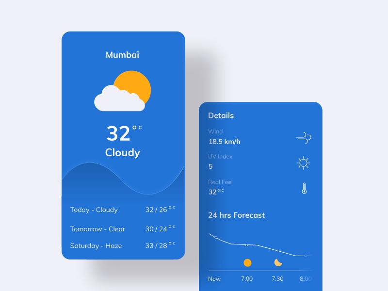 Weather- #dailyui - 037 weather weather app interaction design app graphic design daily ui vector graphics illustration daily challange dailyui design ui uiux mumbai india