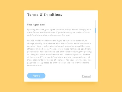 Terms and Conditions - #dailyui - 089