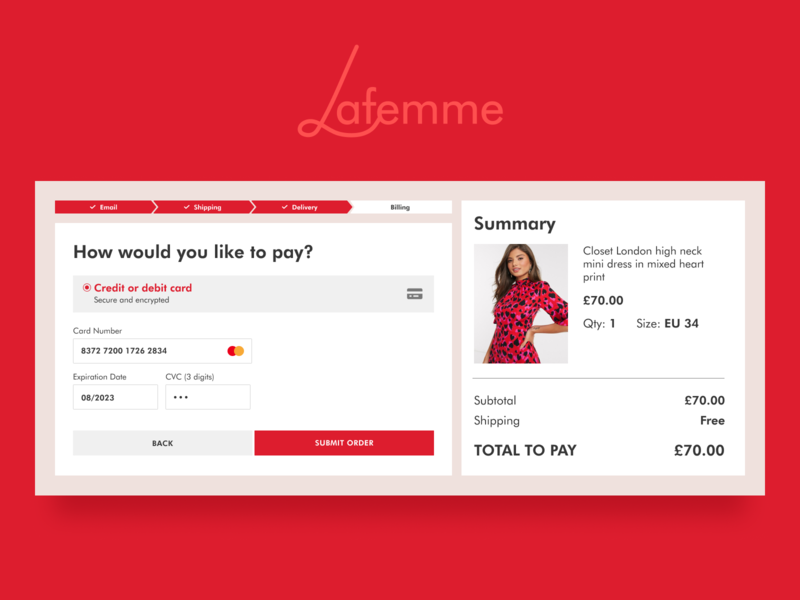 Daily UI challenge #002 — Credit card checkout form logodesign logo checkout form form checkout ux ui ecommerce red website webdesign dailyui