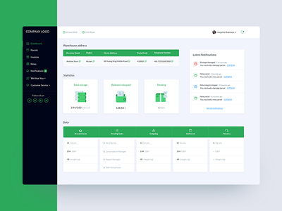 Dashboard for warehouses business website web ux ui green dashboard