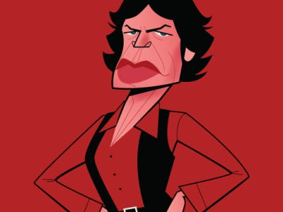 Mick Jagger diego riselli illustration midcenturymodern adobe creative cloud adobeillustrator wacom cintiq vector vector illustration cartoon retro fan art caricature rolling stones