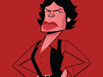 Mick Jagger diego riselli illustration midcenturymodern adobe creative cloud adobeillustrator wacom cintiq vector vector illustration cartoon retro fan art caricature rolling stones