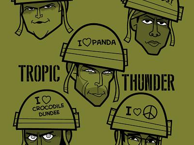 Tropic Thunder digital illustration wacom cintiq adobe creative cloud adobe illustrator vector diego riselli fanart caricatures funny war movie robert downey jr brandon t jackson jay baruchel ben stiller jack black tropic thunder