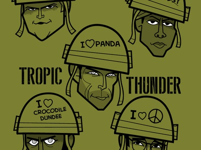 Tropic Thunder digital illustration wacom cintiq adobe creative cloud adobe illustrator vector diego riselli fanart caricatures funny war movie robert downey jr brandon t jackson jay baruchel ben stiller jack black tropic thunder